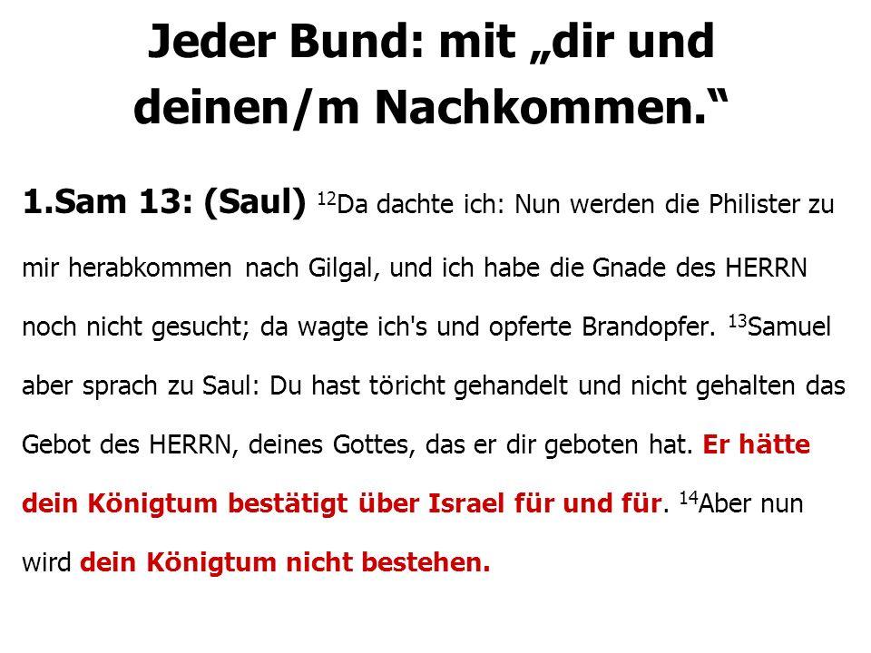 1.Sam 13: (Saul) 12 Da dachte ich: Nun werden die Philister zu mir herabkommen nach Gilgal, und ich habe die Gnade des HERRN noch nicht gesucht; da wa