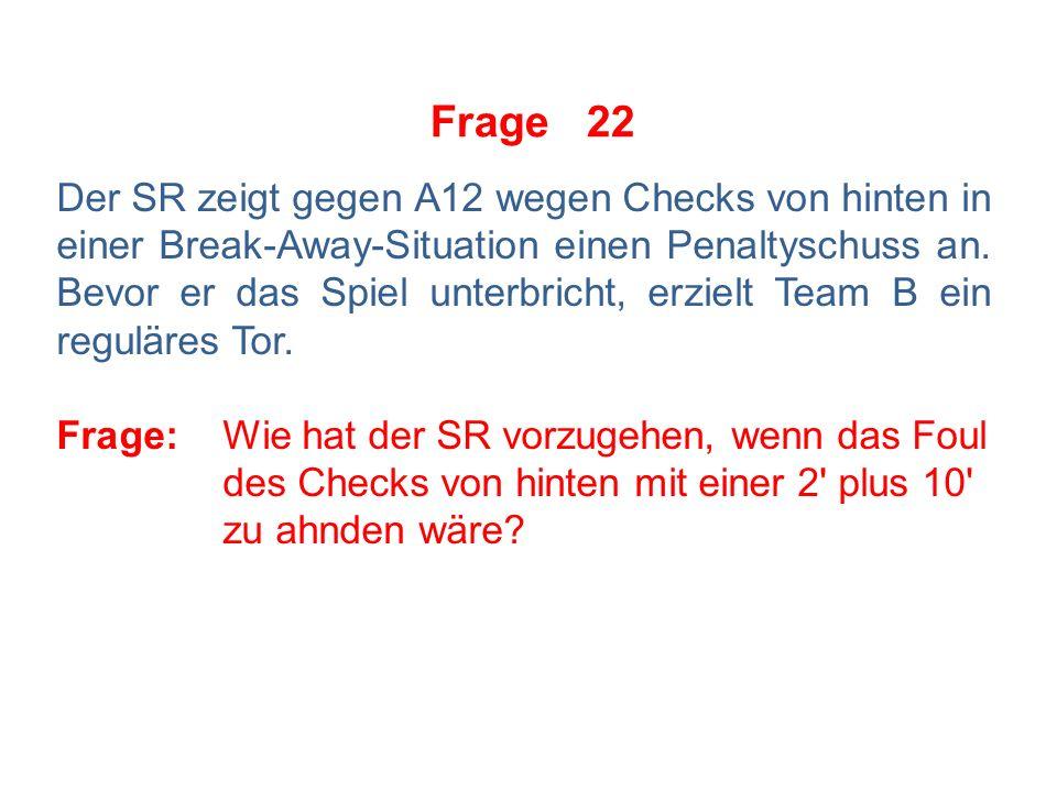 Frage 21 Situation unmittelbar nach Ende des Drittels auf dem Eis: Troublemaker A20 bewegt sich auf den Spieler B7 zu.