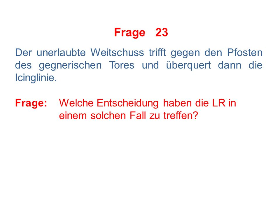 Frage 22 Der SR zeigt gegen A12 wegen Checks von hinten in einer Break-Away-Situation einen Penaltyschuss an.
