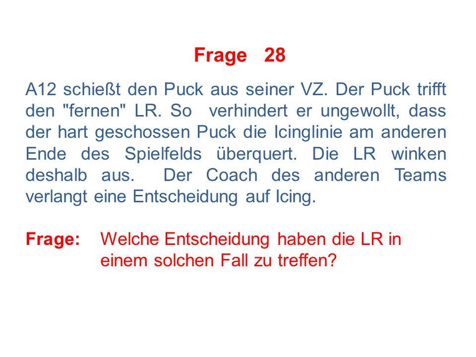 Frage 27 Der Coach fragt den SR, in welcher Reihenfolge die Strafen zu verbüßen seien, wenn gegen einen seiner Spieler in demselben Spielunterbuch sowohl eine Kleine als auch eine Große Strafe nebst SpD verhängt werden.