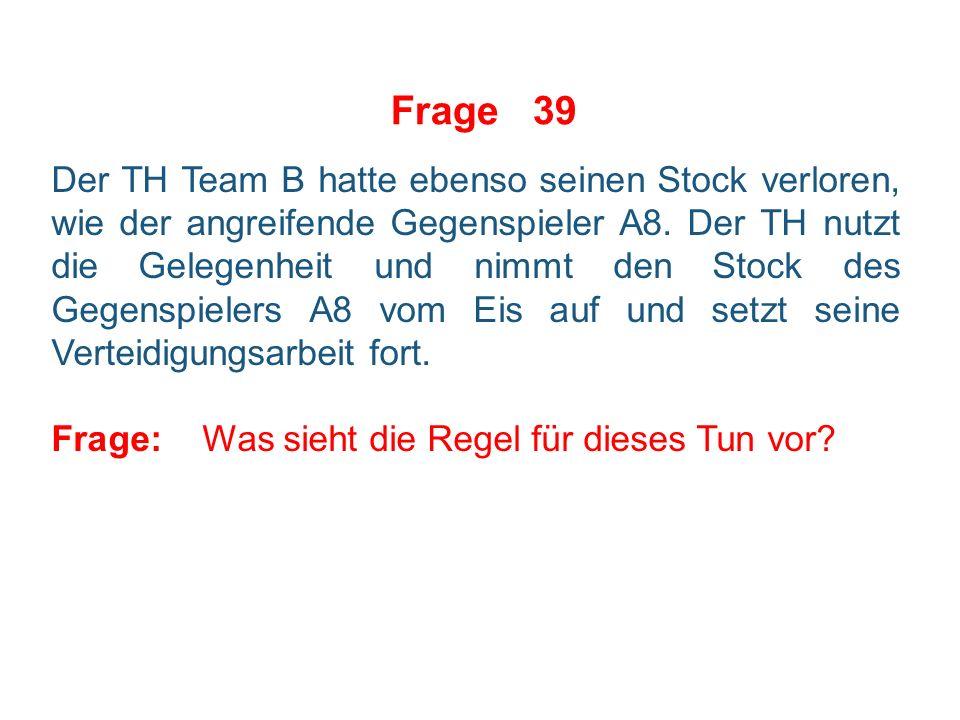 Frage 38 Situation: Aufgrund einer Kleinen Strafe spielt Team A in 1-Mann-Unterzahl.