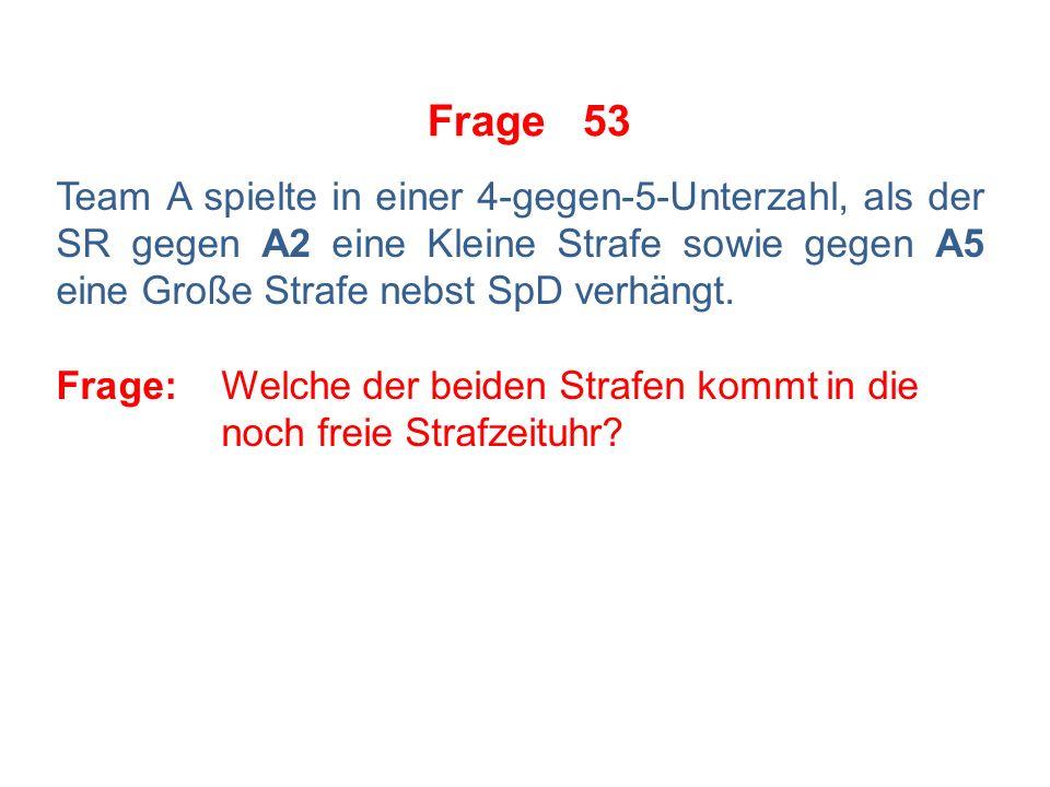 Frage 52 Der Spieler A12 schießt den Puck aus seiner VZ über die Icinglinie Team B.