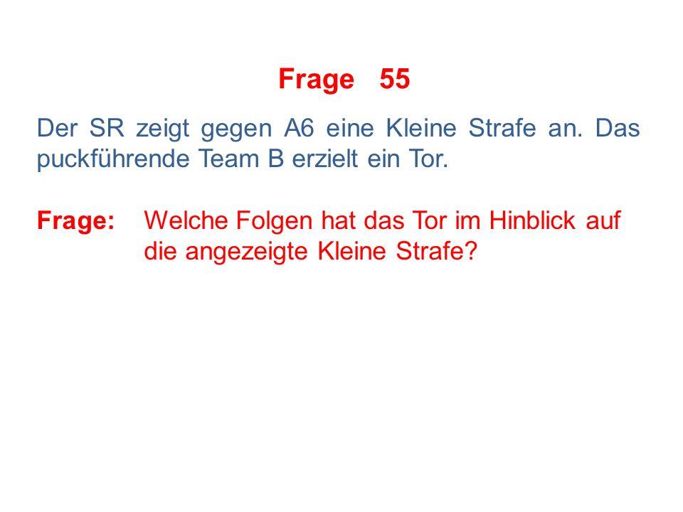 Frage 54 Folgende Situation: Beide Teams spielen in voller Spieleranzahl auf dem Eis.