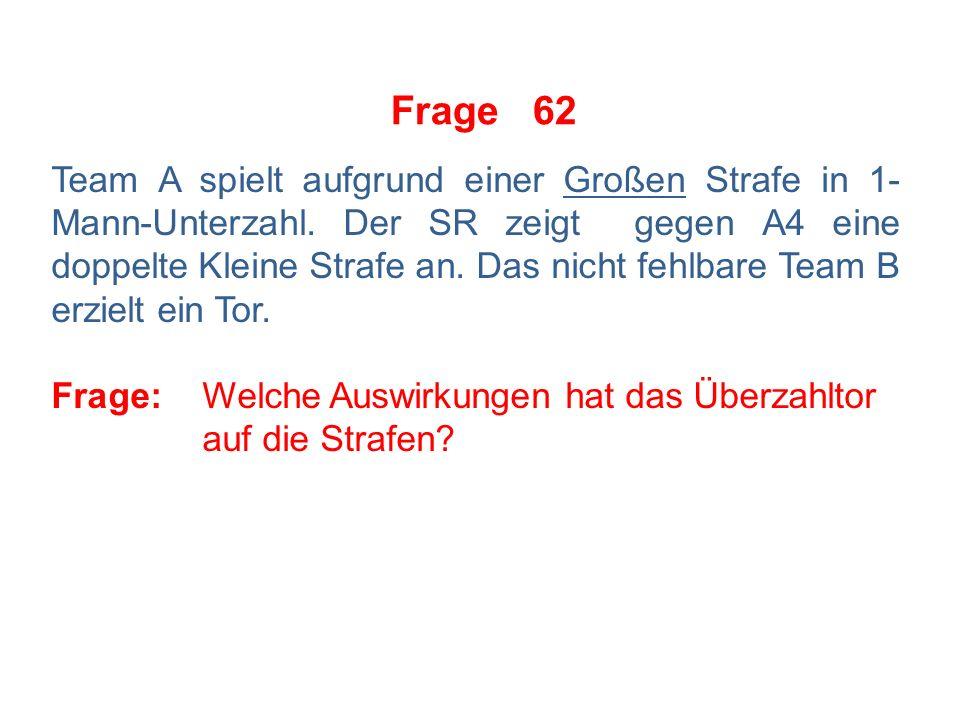 Frage 61 Team A spielt wegen einer Kleinen Strafe in 1-Mann- Unterzahl.