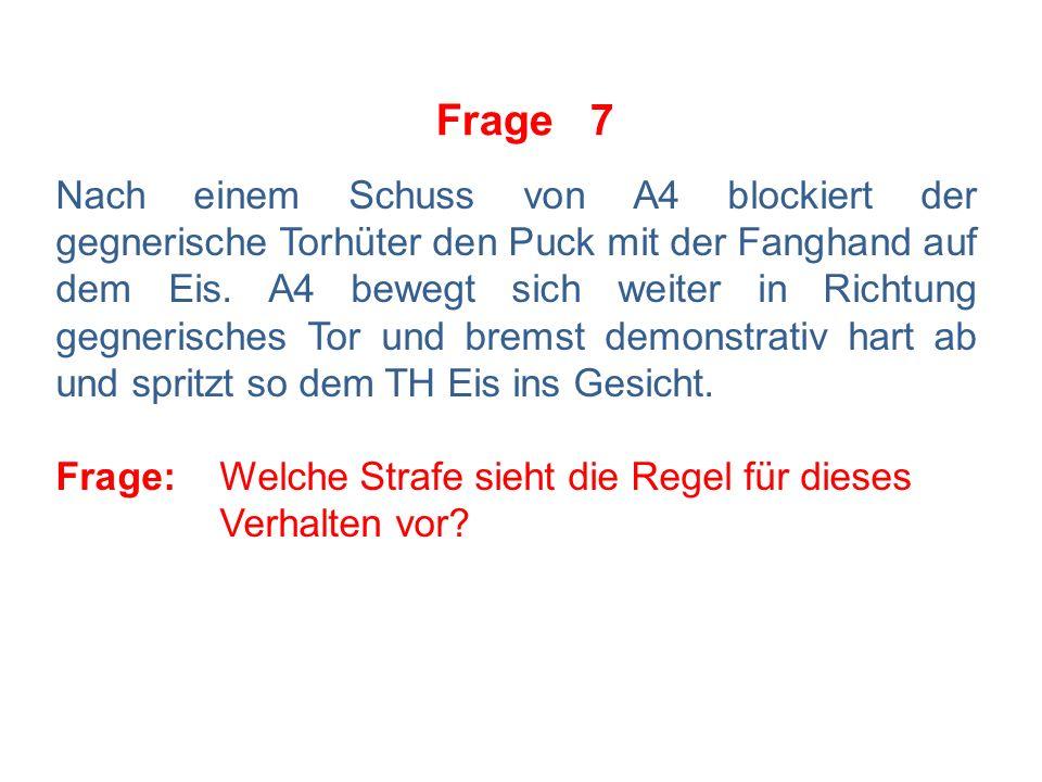 Frage 7 Nach einem Schuss von A4 blockiert der gegnerische Torhüter den Puck mit der Fanghand auf dem Eis.