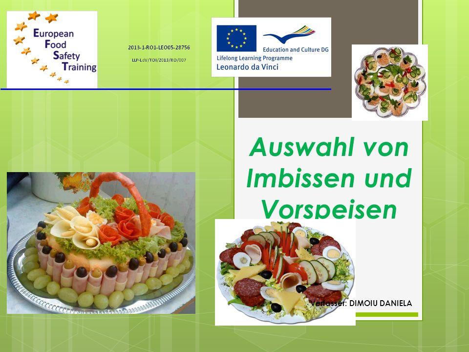 Vorspeisen Snacks sind in verschiedenen Formen, optisch ansprechend und in kleinen Volumen präsentierte Gerichte.