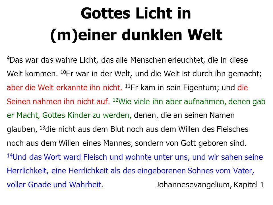 Gottes Licht in (m)einer dunklen Welt 36 Wer an den Sohn glaubt, der hat das ewige Leben.