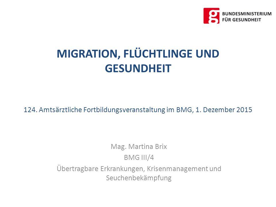 MIGRATION, FLÜCHTLINGE UND GESUNDHEIT 124. Amtsärztliche Fortbildungsveranstaltung im BMG, 1.