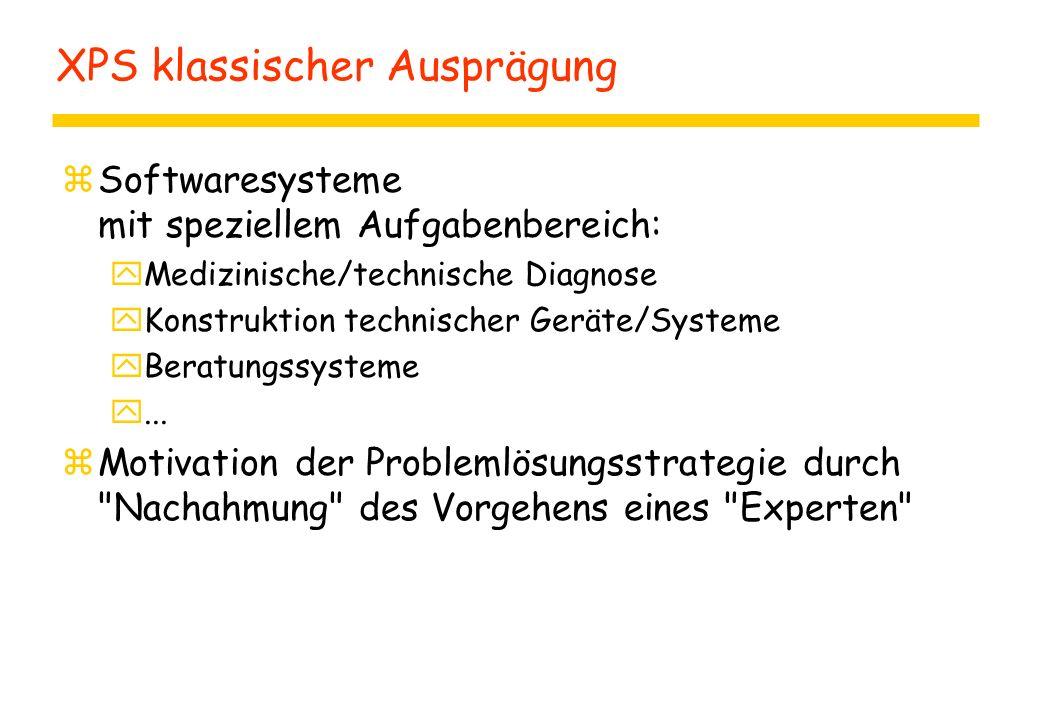 XPS klassischer Ausprägung zSoftwaresysteme mit speziellem Aufgabenbereich: yMedizinische/technische Diagnose yKonstruktion technischer Geräte/Systeme