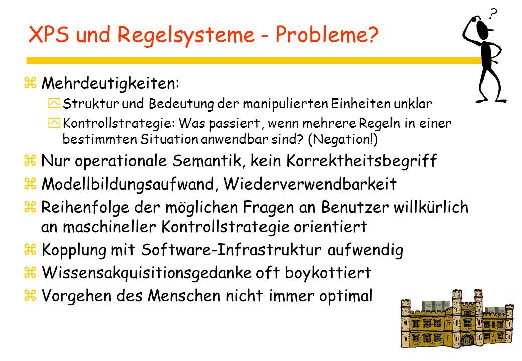 XPS und Regelsysteme - Probleme? zMehrdeutigkeiten: yStruktur und Bedeutung der manipulierten Einheiten unklar yKontrollstrategie: Was passiert, wenn