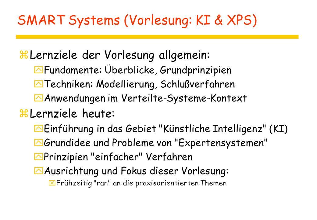 SMART Systems (Vorlesung: KI & XPS) zLernziele der Vorlesung allgemein: yFundamente: Überblicke, Grundprinzipien yTechniken: Modellierung, Schlußverfa