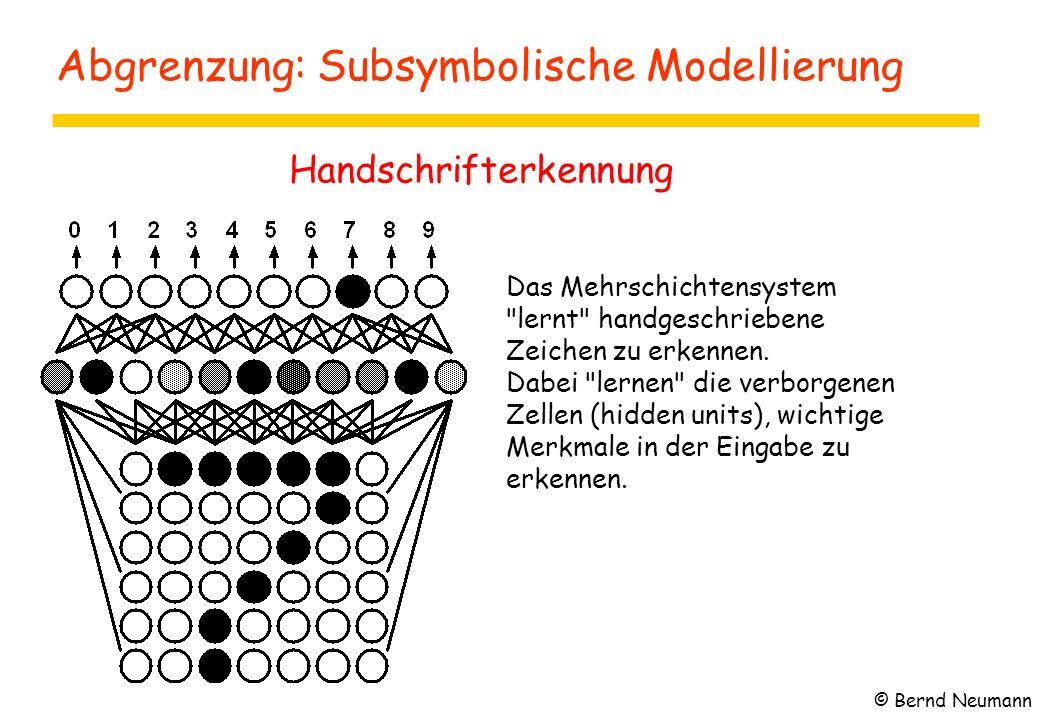 Abgrenzung: Subsymbolische Modellierung Handschrifterkennung Das Mehrschichtensystem
