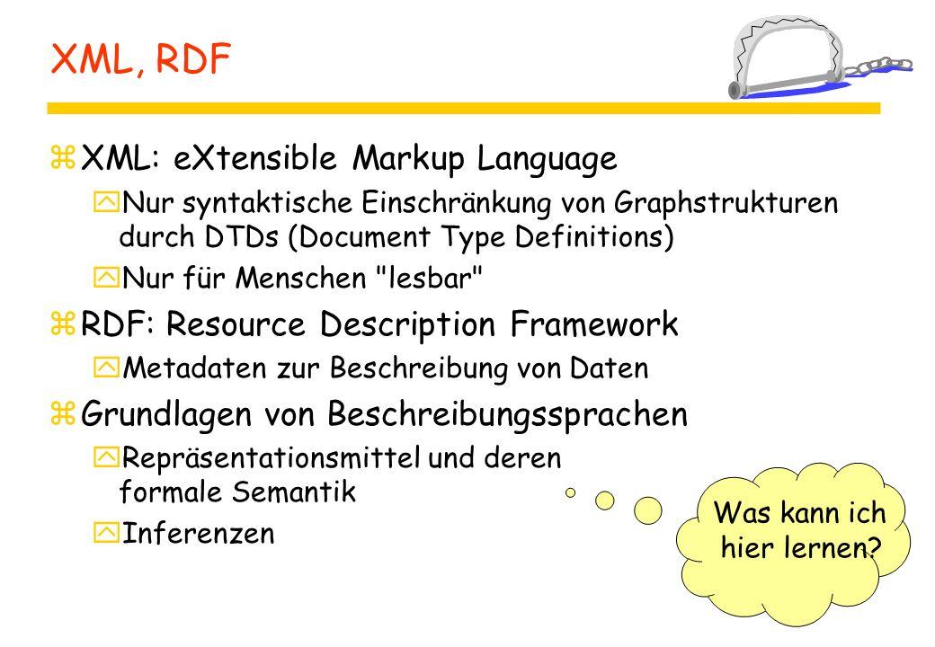 XML, RDF zXML: eXtensible Markup Language yNur syntaktische Einschränkung von Graphstrukturen durch DTDs (Document Type Definitions) yNur für Menschen