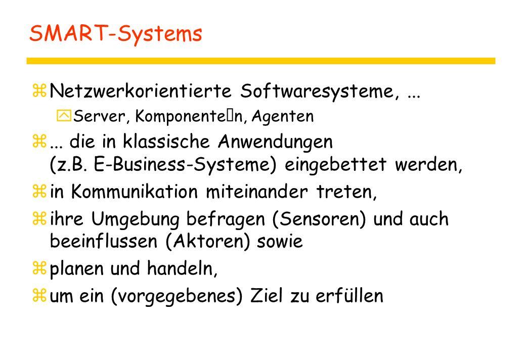 SMART-Systems zNetzwerkorientierte Softwaresysteme,... yServer, Komponenten, Agenten z... die in klassische Anwendungen (z.B. E-Business-Systeme) eing