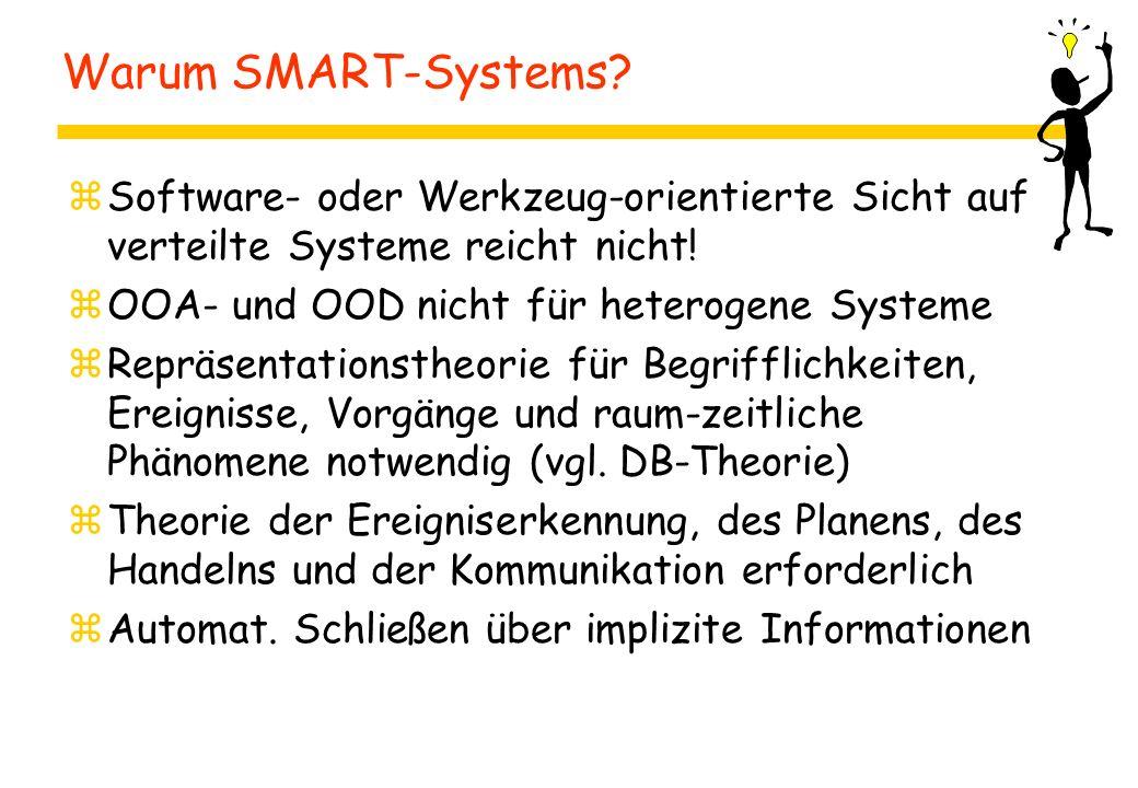 Warum SMART-Systems? zSoftware- oder Werkzeug-orientierte Sicht auf verteilte Systeme reicht nicht! zOOA- und OOD nicht für heterogene Systeme zRepräs