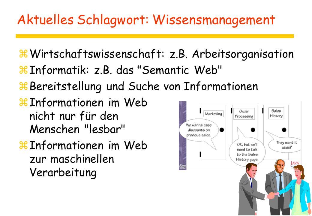 Aktuelles Schlagwort: Wissensmanagement zWirtschaftswissenschaft: z.B. Arbeitsorganisation zInformatik: z.B. das