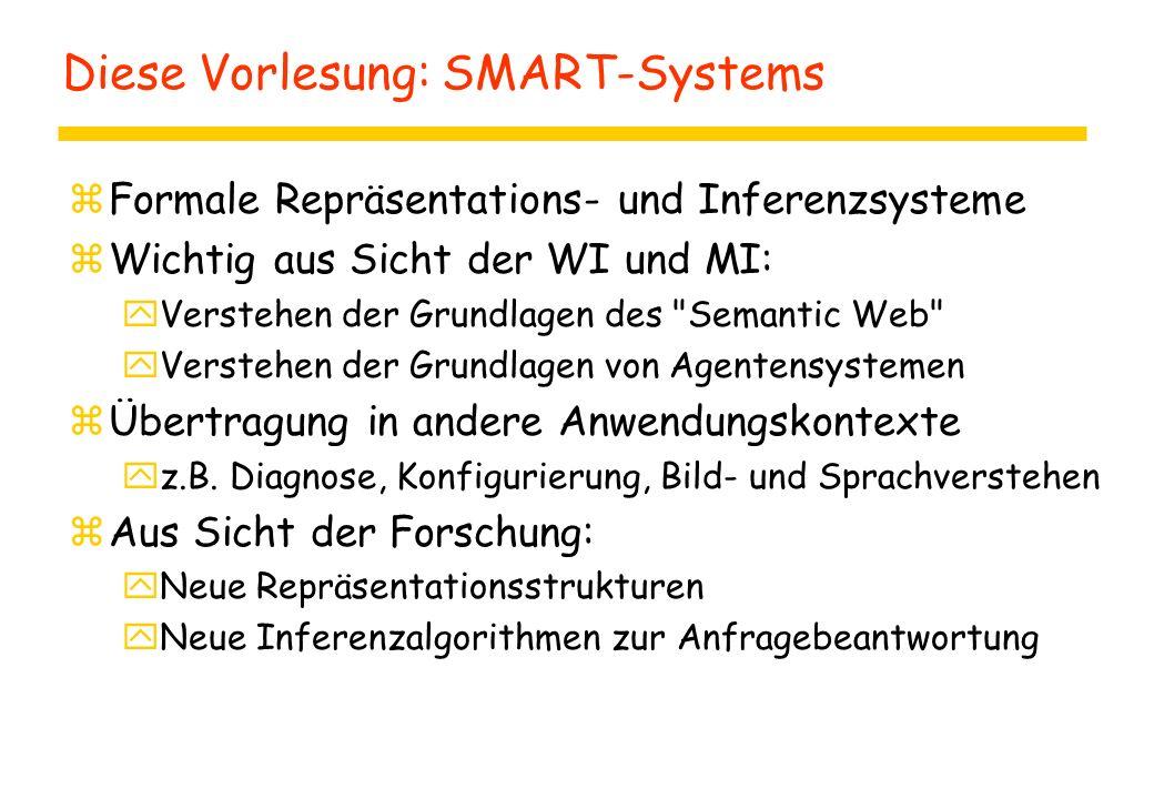 Diese Vorlesung: SMART-Systems zFormale Repräsentations- und Inferenzsysteme zWichtig aus Sicht der WI und MI: yVerstehen der Grundlagen des