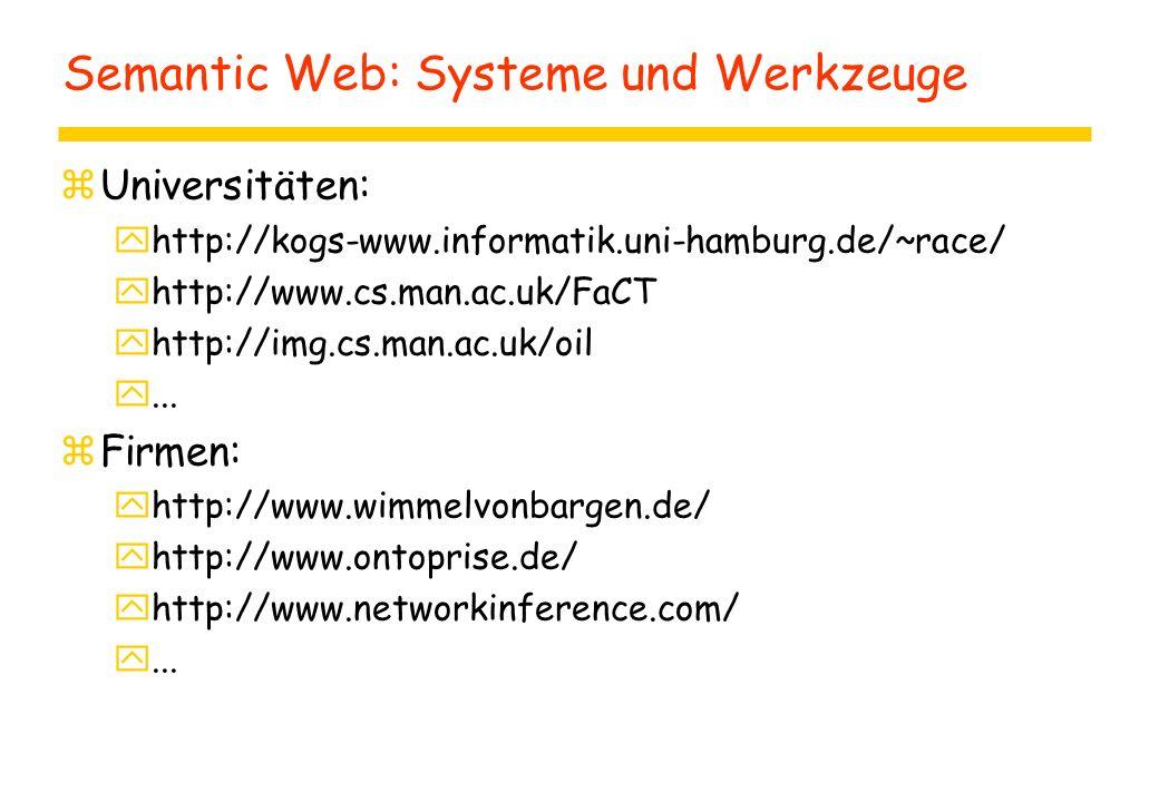 Semantic Web: Systeme und Werkzeuge zUniversitäten: yhttp://kogs-www.informatik.uni-hamburg.de/~race/ yhttp://www.cs.man.ac.uk/FaCT yhttp://img.cs.man