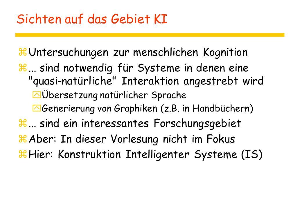 Sichten auf das Gebiet KI zUntersuchungen zur menschlichen Kognition z... sind notwendig für Systeme in denen eine