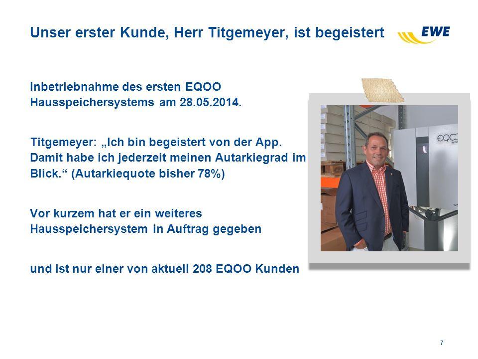 """Unser erster Kunde, Herr Titgemeyer, ist begeistert Inbetriebnahme des ersten EQOO Hausspeichersystems am 28.05.2014. Titgemeyer: """"Ich bin begeistert"""
