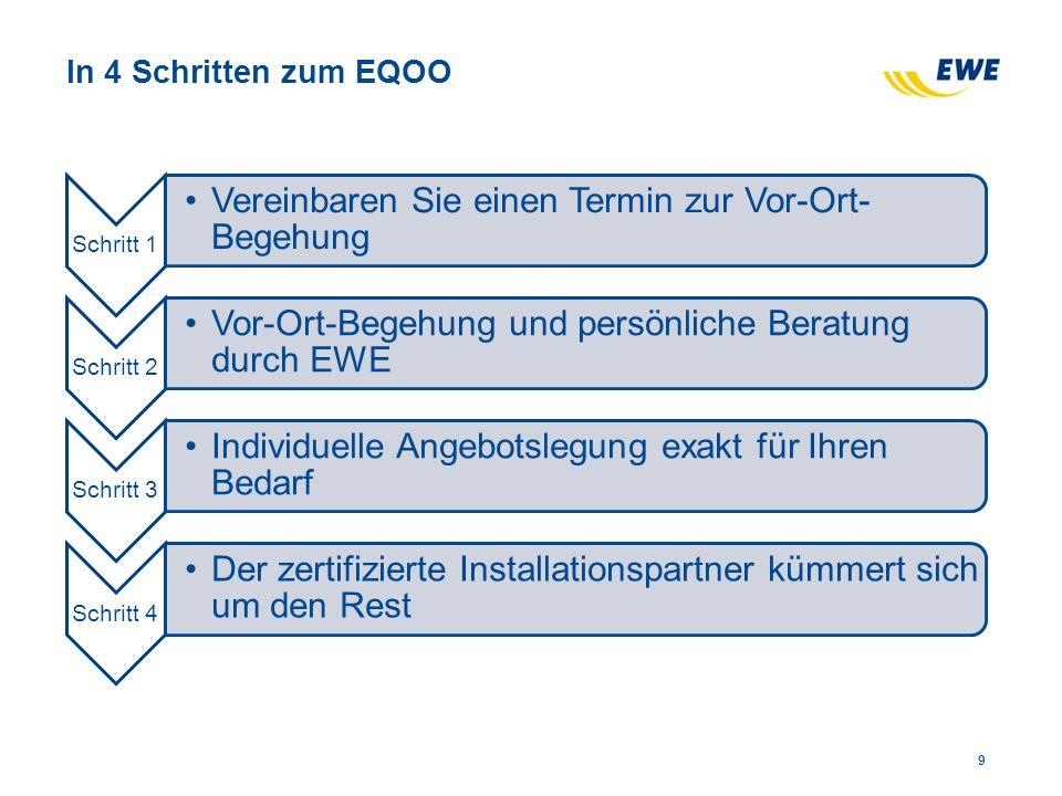 In 4 Schritten zum EQOO Schritt 1 Vereinbaren Sie einen Termin zur Vor-Ort- Begehung Schritt 2 Vor-Ort-Begehung und persönliche Beratung durch EWE Schritt 3 Individuelle Angebotslegung exakt für Ihren Bedarf Schritt 4 Der zertifizierte Installationspartner kümmert sich um den Rest 9