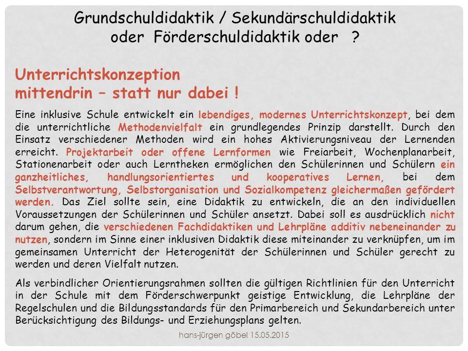 Grundschuldidaktik / Sekundärschuldidaktik oder Förderschuldidaktik oder .