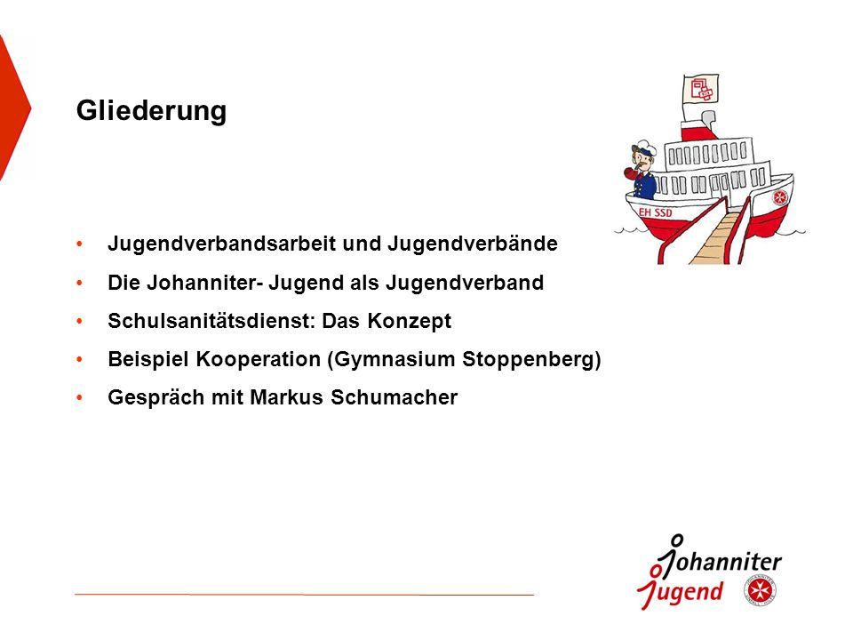 Gliederung Jugendverbandsarbeit und Jugendverbände Die Johanniter- Jugend als Jugendverband Schulsanitätsdienst: Das Konzept Beispiel Kooperation (Gym