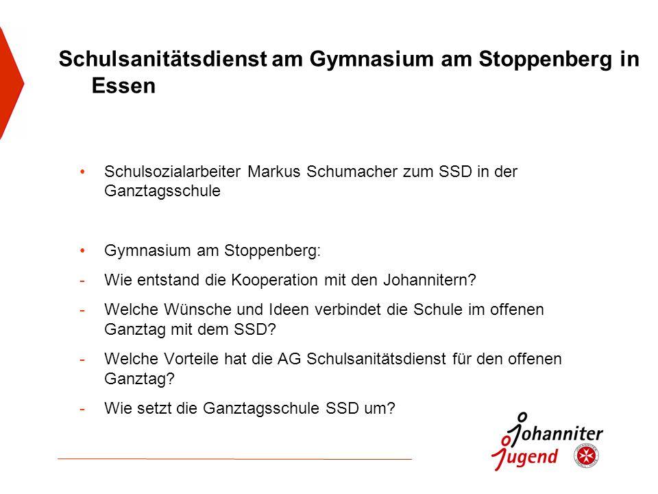 Schulsozialarbeiter Markus Schumacher zum SSD in der Ganztagsschule Gymnasium am Stoppenberg: -Wie entstand die Kooperation mit den Johannitern? -Welc