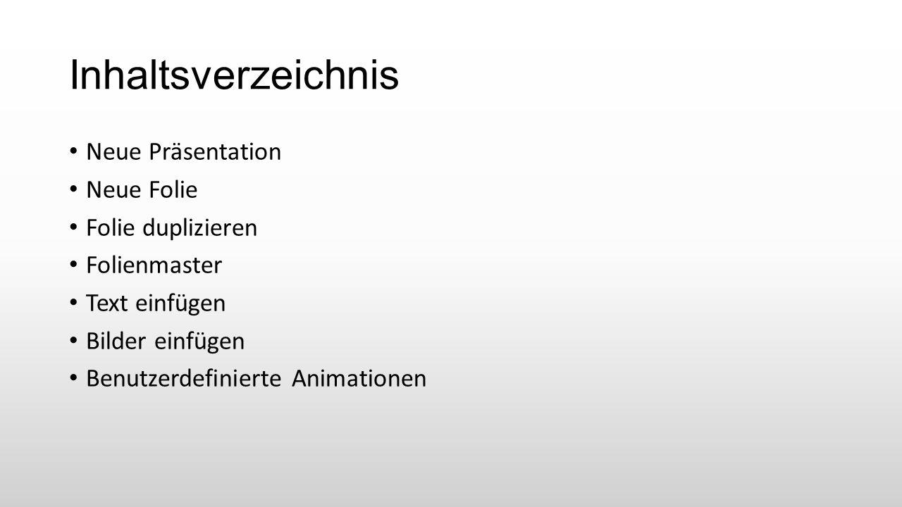 """Neue Präsentation Microsoft (MS) PowerPoint über das Startmenü öffnen  Leere Präsentation Alte Präsentation öffnen  im Registermenü """"DATEI  Neu  Leere Präsentation Alte Präsentation öffnen  Strg + N"""