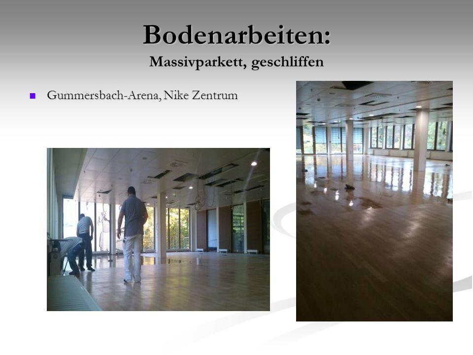 Bodenarbeiten: Massivparkett, geschliffen Gummersbach-Arena, Nike Zentrum Gummersbach-Arena, Nike Zentrum