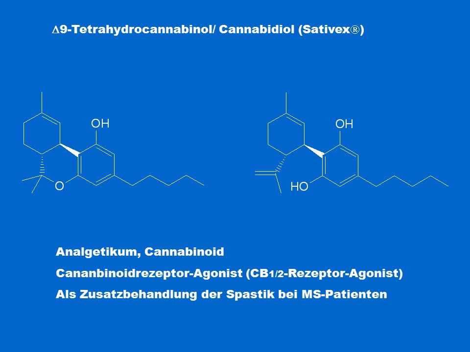  9-Tetrahydrocannabinol/ Cannabidiol (Sativex  ) Analgetikum, Cannabinoid Cananbinoidrezeptor-Agonist (CB 1/2 -Rezeptor-Agonist) Als Zusatzbehandlun