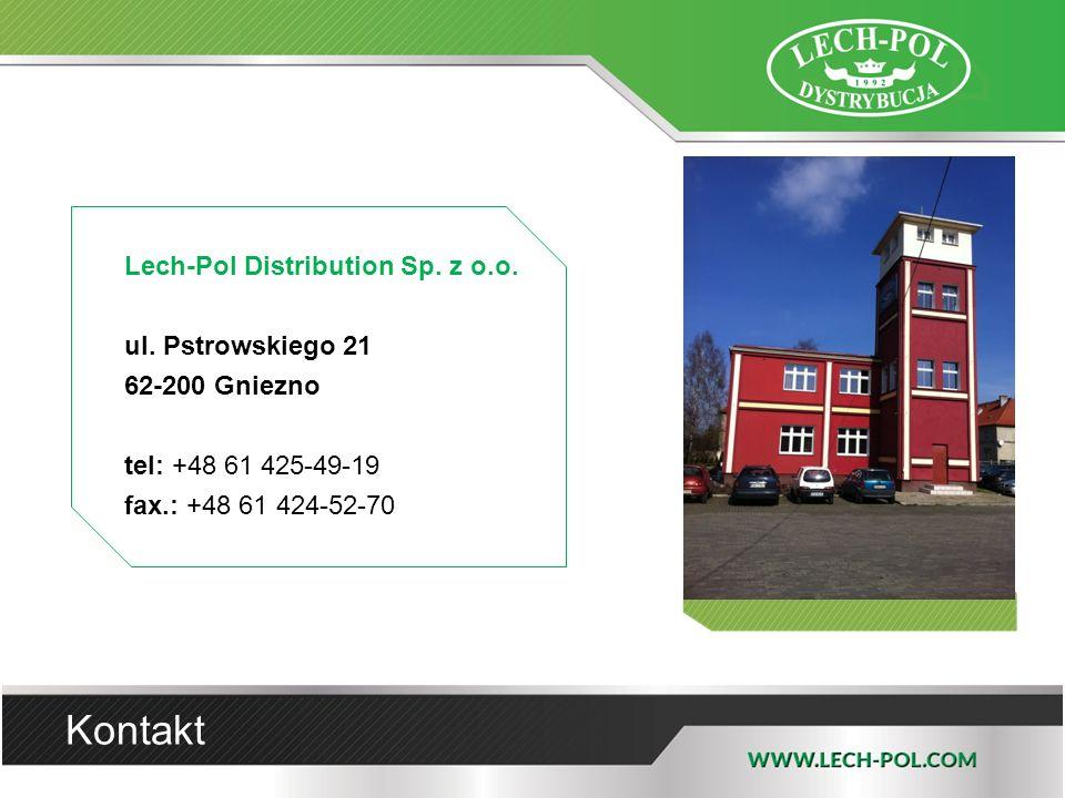 Kontakt Lech-Pol Distribution Sp. z o.o. ul. Pstrowskiego 21 62-200 Gniezno tel: +48 61 425-49-19 fax.: +48 61 424-52-70