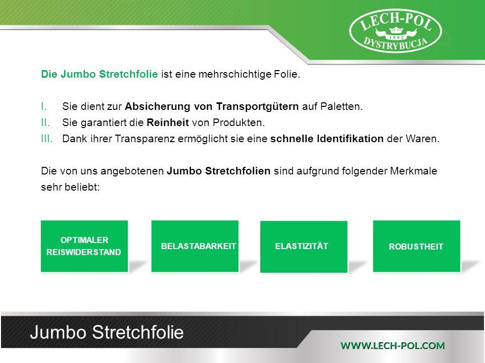Jumbo Stretchfolie Die Jumbo Stretchfolie ist eine mehrschichtige Folie. I.Sie dient zur Absicherung von Transportgütern auf Paletten. II.Sie garantie
