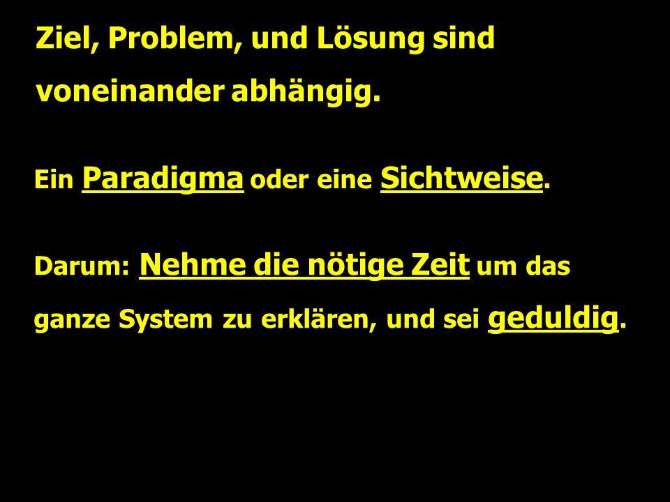 Ziel, Problem, und Lösung sind voneinander abhängig.