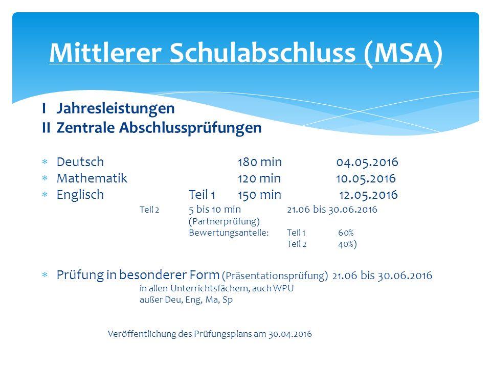 I Jahresleistungen II Zentrale Abschlussprüfungen  Deutsch180 min04.05.2016  Mathematik120 min10.05.2016  EnglischTeil 1150 min 12.05.2016 Teil 2 5