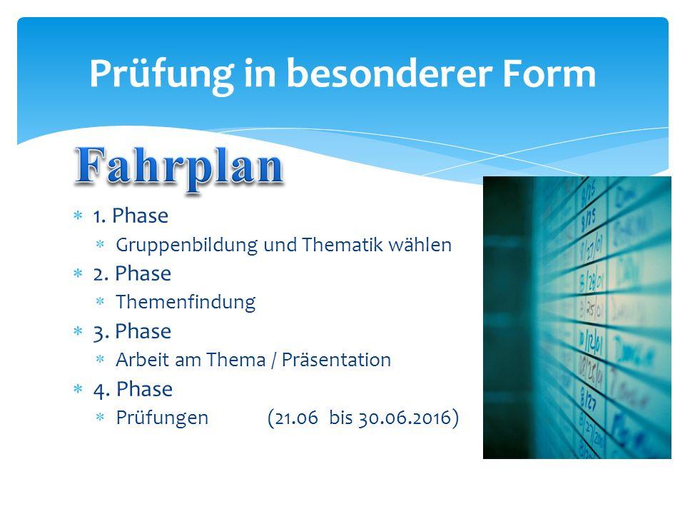  1. Phase  Gruppenbildung und Thematik wählen  2. Phase  Themenfindung  3. Phase  Arbeit am Thema / Präsentation  4. Phase  Prüfungen (21.06 b