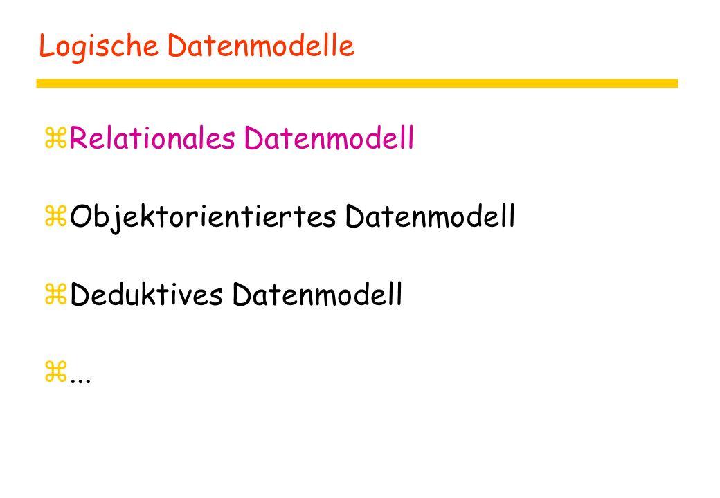Logische Datenmodelle zRelationales Datenmodell zObjektorientiertes Datenmodell zDeduktives Datenmodell z...