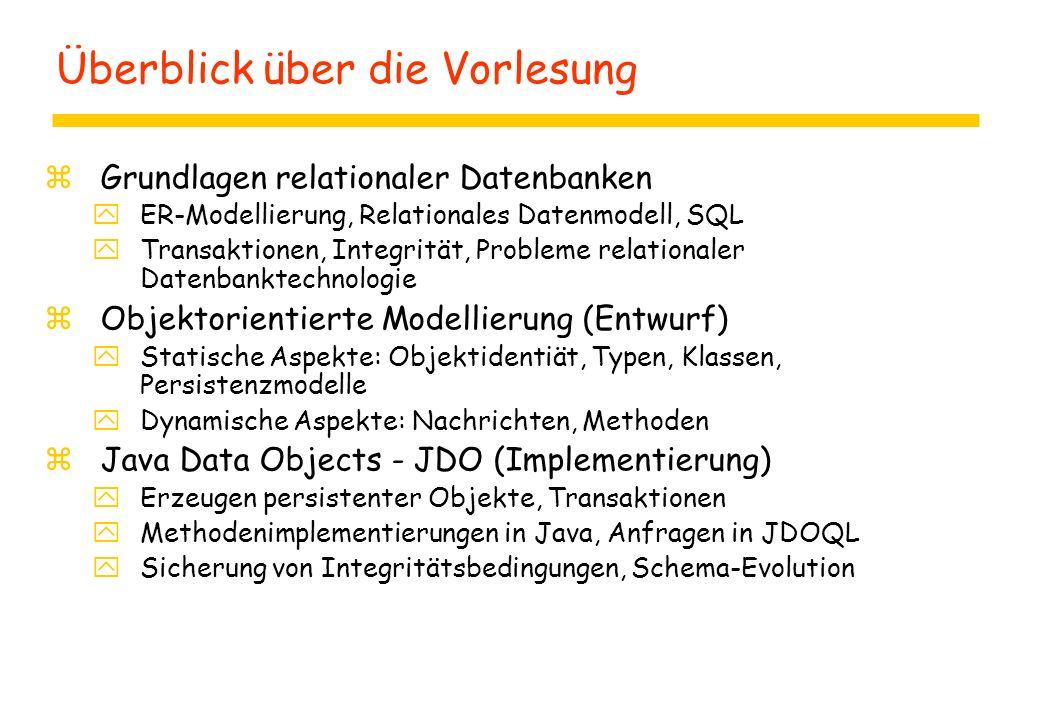 Überblick über die Vorlesung zGrundlagen relationaler Datenbanken yER-Modellierung, Relationales Datenmodell, SQL yTransaktionen, Integrität, Probleme