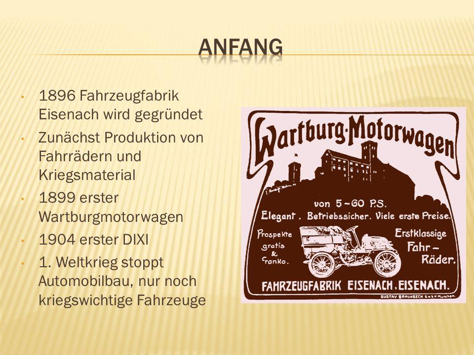 1896 Fahrzeugfabrik Eisenach wird gegründet Zunächst Produktion von Fahrrädern und Kriegsmaterial 1899 erster Wartburgmotorwagen 1904 erster DIXI 1. W