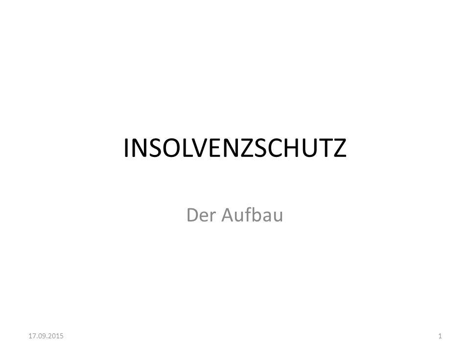 INSOLVENZSCHUTZ Der Aufbau 17.09.20151