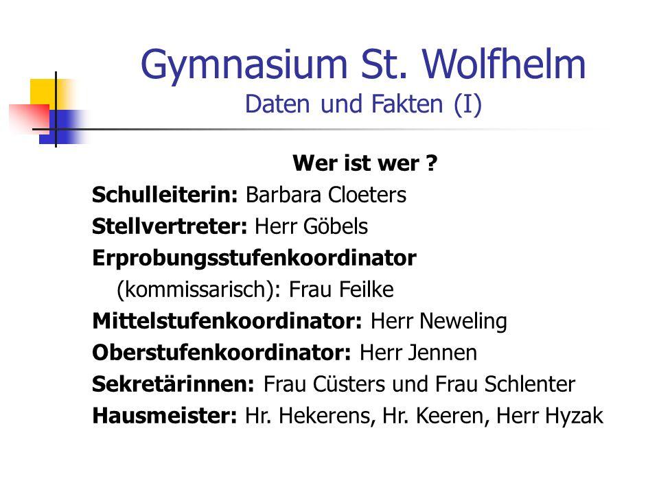 Gymnasium St. Wolfhelm Daten und Fakten (I) Wer ist wer .