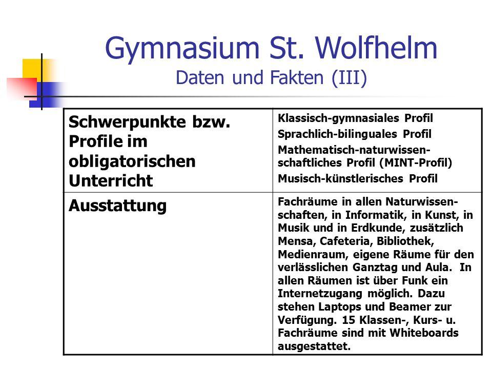 Gymnasium St. Wolfhelm Daten und Fakten (III) Schwerpunkte bzw.