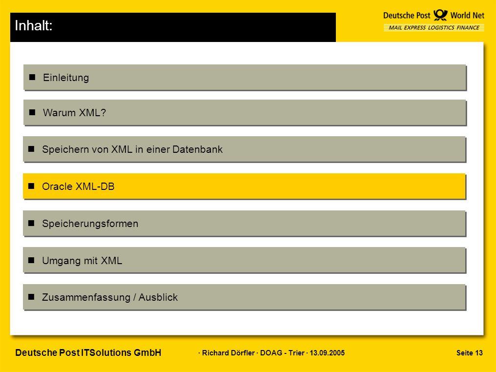 Seite 13 · Richard Dörfler · DOAG - Trier · 13.09.2005 Deutsche Post ITSolutions GmbH Inhalt: Einleitung Warum XML.