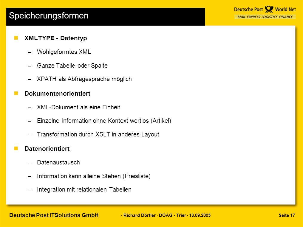 Seite 17 · Richard Dörfler · DOAG - Trier · 13.09.2005 Deutsche Post ITSolutions GmbH Speicherungsformen nXMLTYPE - Datentyp –Wohlgeformtes XML –Ganze Tabelle oder Spalte –XPATH als Abfragesprache möglich nDokumentenorientiert –XML-Dokument als eine Einheit –Einzelne Information ohne Kontext wertlos (Artikel) –Transformation durch XSLT in anderes Layout nDatenorientiert –Datenaustausch –Information kann alleine Stehen (Preisliste) –Integration mit relationalen Tabellen