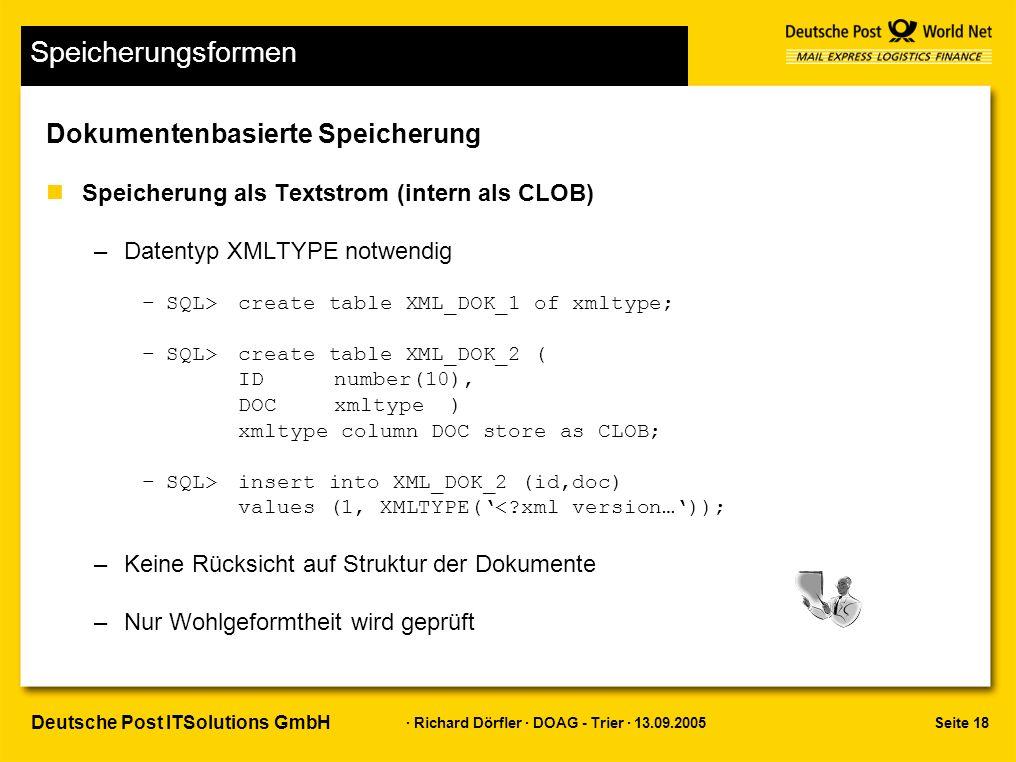 Seite 18 · Richard Dörfler · DOAG - Trier · 13.09.2005 Deutsche Post ITSolutions GmbH Speicherungsformen Dokumentenbasierte Speicherung nSpeicherung als Textstrom (intern als CLOB) –Datentyp XMLTYPE notwendig –SQL> create table XML_DOK_1 of xmltype; –SQL> create table XML_DOK_2 ( IDnumber(10), DOCxmltype ) xmltype column DOC store as CLOB; –SQL>insert into XML_DOK_2 (id,doc) values (1, XMLTYPE('<?xml version…')); –Keine Rücksicht auf Struktur der Dokumente –Nur Wohlgeformtheit wird geprüft