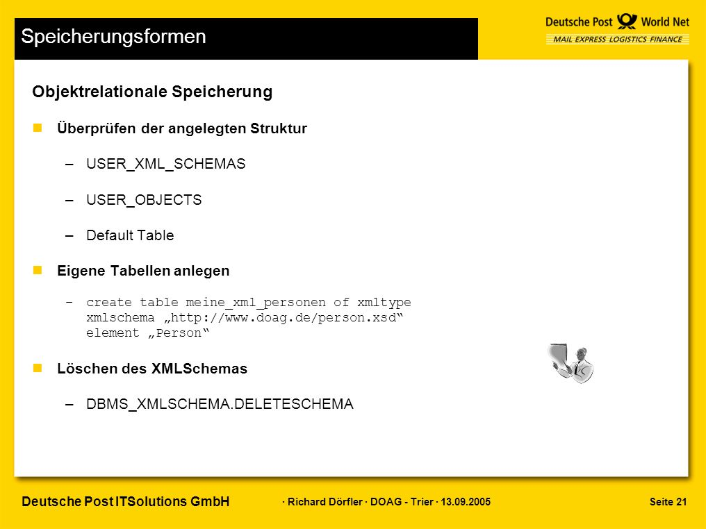 "Seite 21 · Richard Dörfler · DOAG - Trier · 13.09.2005 Deutsche Post ITSolutions GmbH Speicherungsformen Objektrelationale Speicherung nÜberprüfen der angelegten Struktur –USER_XML_SCHEMAS –USER_OBJECTS –Default Table nEigene Tabellen anlegen –create table meine_xml_personen of xmltype xmlschema ""http://www.doag.de/person.xsd element ""Person nLöschen des XMLSchemas –DBMS_XMLSCHEMA.DELETESCHEMA"