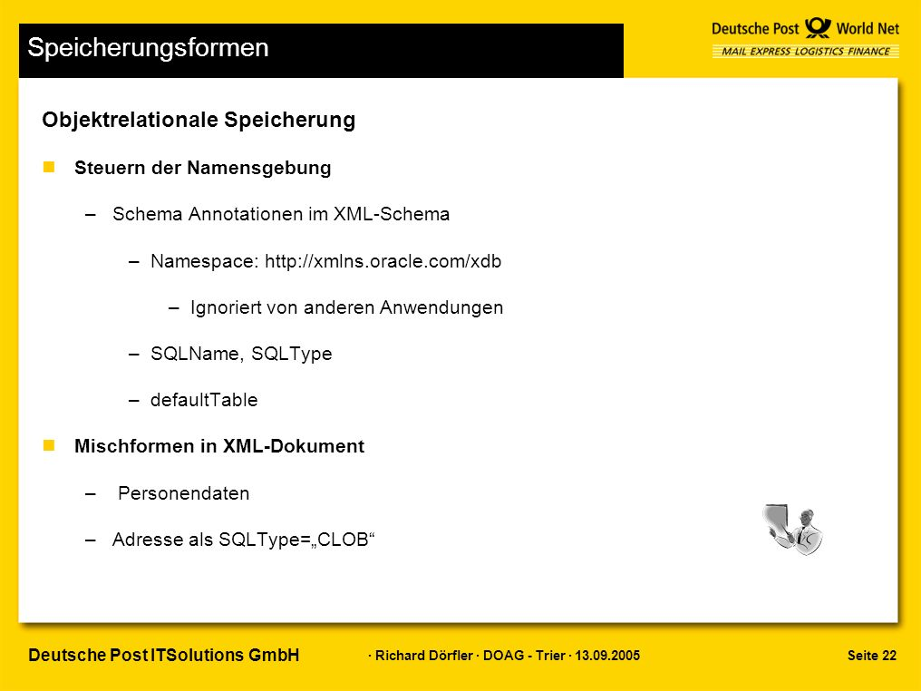 """Seite 22 · Richard Dörfler · DOAG - Trier · 13.09.2005 Deutsche Post ITSolutions GmbH Speicherungsformen Objektrelationale Speicherung nSteuern der Namensgebung –Schema Annotationen im XML-Schema –Namespace: http://xmlns.oracle.com/xdb –Ignoriert von anderen Anwendungen –SQLName, SQLType –defaultTable nMischformen in XML-Dokument – Personendaten –Adresse als SQLType=""""CLOB"""