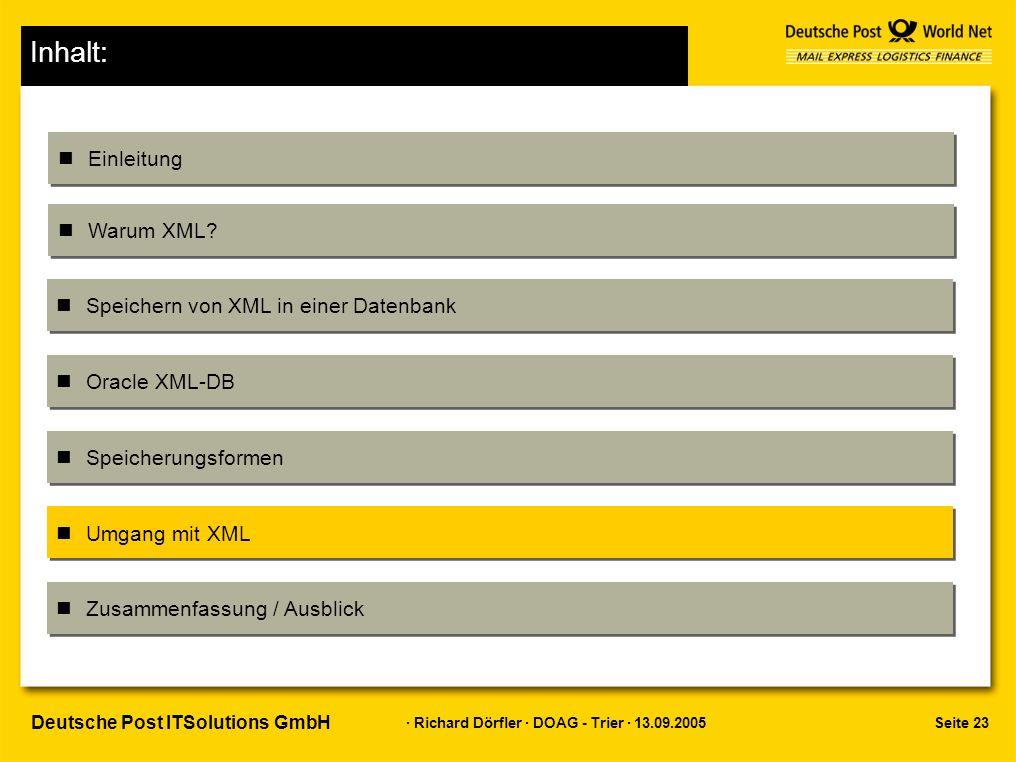 Seite 23 · Richard Dörfler · DOAG - Trier · 13.09.2005 Deutsche Post ITSolutions GmbH Inhalt: Einleitung Warum XML.
