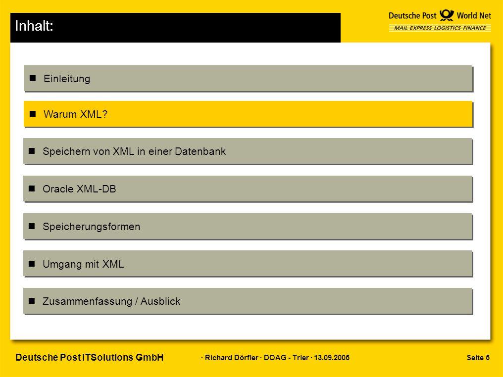 Seite 5 · Richard Dörfler · DOAG - Trier · 13.09.2005 Deutsche Post ITSolutions GmbH Inhalt: Einleitung Warum XML.