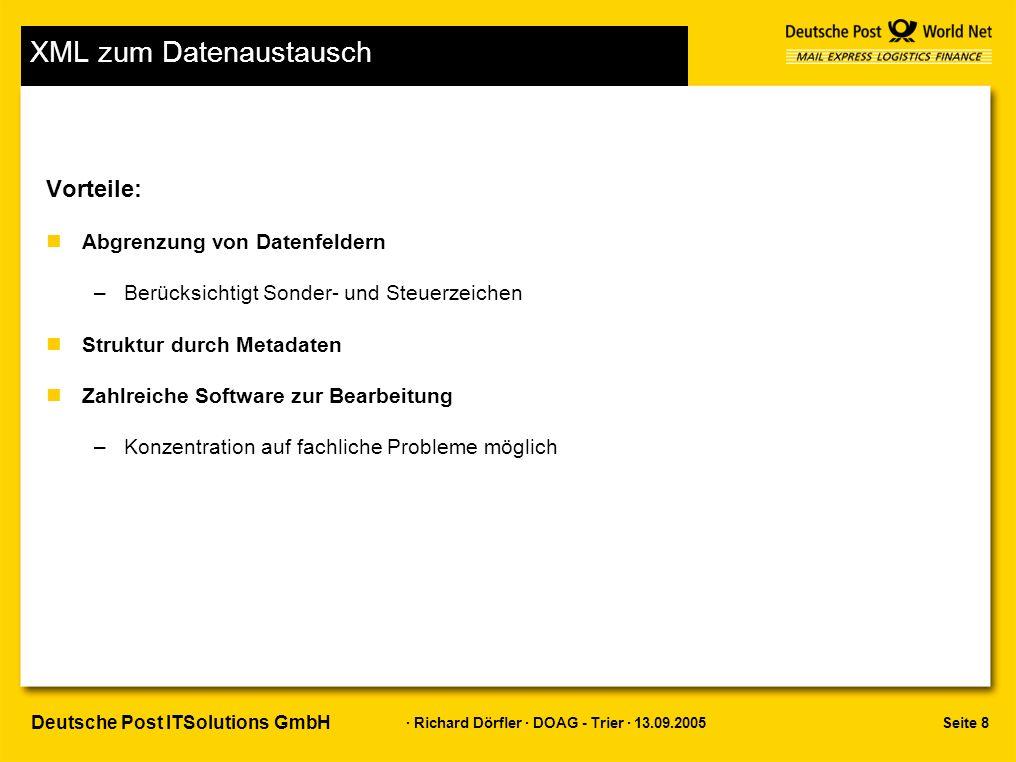 Seite 19 · Richard Dörfler · DOAG - Trier · 13.09.2005 Deutsche Post ITSolutions GmbH Speicherungsformen Dokumentenbasierte Speicherung nSpeicherung über FTP oder DBMS_XDB –DECLARE ret boolean; BEGIN ret:=dbms_xdb.createresource( /public/xperson.xml', Hugo Schmitz … ) END; / –Dokument wird im Repository dokumentenorientiert abgelegt –Tabelle XDB$RESOURCE (->path_view)
